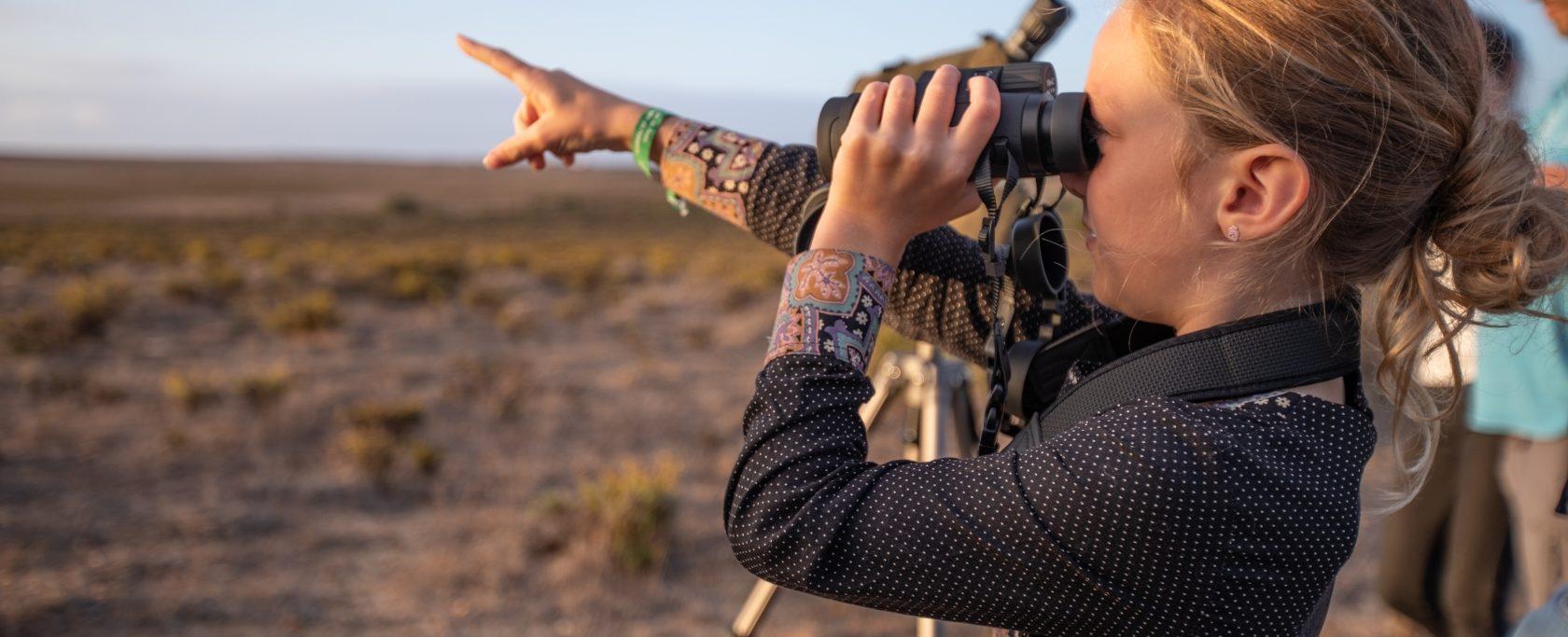 menina a observar aves