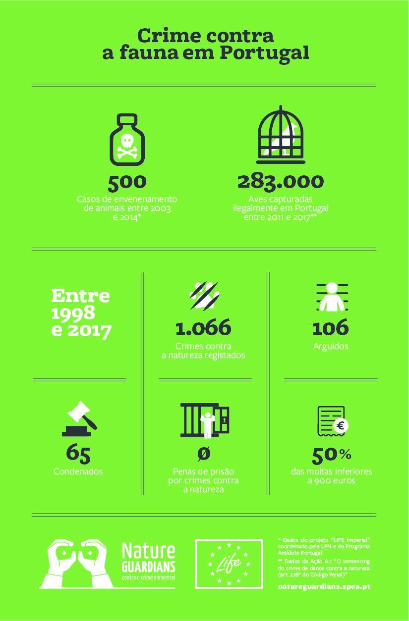 infografia com dados dos crimes contra a fauna em Portugal